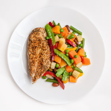 grilled chicken with steamed vegetables