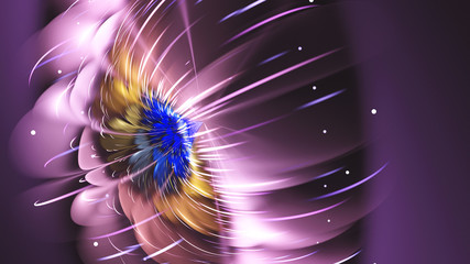 Exotic flower. Sunny Wind. 3D surreal illustration. Sacred geometry. Mysterious psychedelic relaxation pattern. Fractal abstract texture. Digital artwork graphic astrology magic