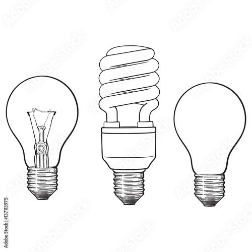 "Set Of Hand Drawn Light Bulbs Symbol Of Ideas Stock: ""Set Of Transparent, Opaque, Glowing And Energy Saving"