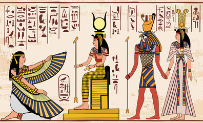 Vector illustration of Egyptian national drawing. Image of gods ornament hieroglyphs.