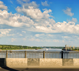 View of the river Volga and the cargo port.