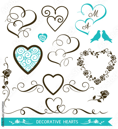 Set of decorative calligraphic hearts for wedding design set of decorative calligraphic hearts for wedding design valentines day hearts and floral love elements junglespirit Choice Image