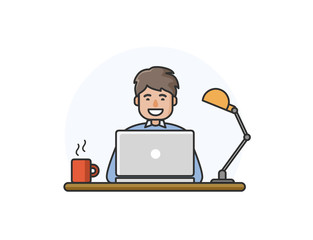 Vector illustration of happy man working on computer.