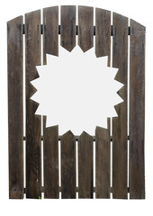 Wooden garden gate with cut out sun design. Isolated.