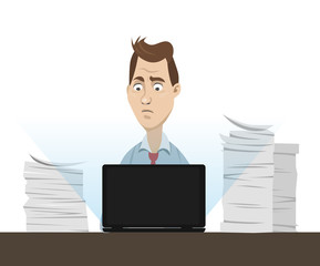 Office worker sitting behind his table working on laptop with a lot of papers and documents around - vector cartoon illustration