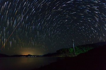 star trails at the sky