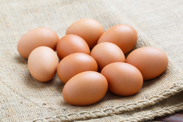 Chicken eggs on sack cloth