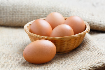 Chicken eggs in bamboo basket