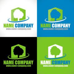 logo paysagiste jardinier maison arbre
