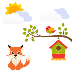 cartoon bird with birdhouse on a branch and fox vector