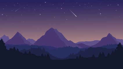 Landscape with silhouettes of blue mountains, hills and forest and night sky with stars