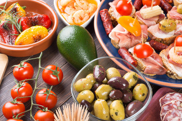 Tapas - spanish starters on table