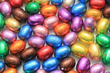 Colored Chocolate easter eggs