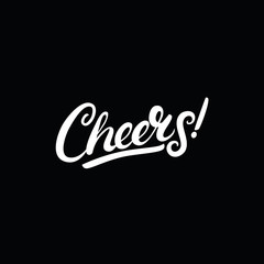 Cheers hand written lettering on black background.