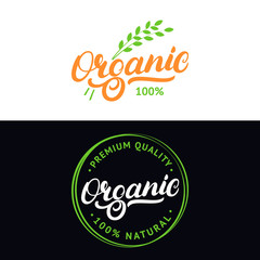Set of Organic hand written lettering logo, label, badge, emblem with fresh bright green.