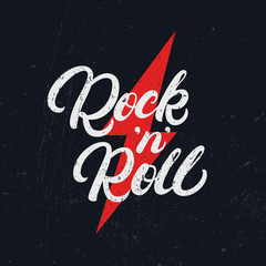 Rock and Roll hand written lettering text for tee print, banner, poster.