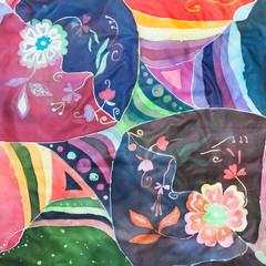geometric and floral ornament on silk batik