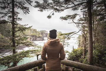 Woman standing at view point, Neah Bay, Washington, United States of America