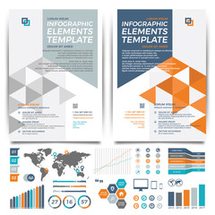 Brochure template design. Cover layout and infographics.
