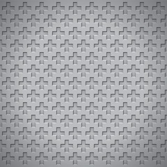 Volume realistic vector texture, holes in the form of crosses, gray geometric pattern, design wallpaper