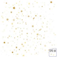Gold stars. Confetti celebration, Falling golden abstract decoration for party, birthday celebrate, anniversary or event, festive. Festival decor. Vector illustration