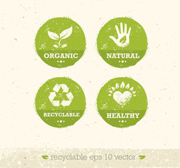Go Green Recycle Reduce Reuse Eco Poster Concept. Vector Creative Organic Illustration On Rough Background