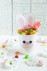 Homemade boxes for sweets in form of Easter Bunny