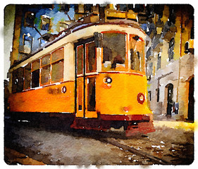Digital watercolor painting of a traditional vintage yellow tram in Lisbon, Portugal, riding through the picturesque streets. Transportation through Lisbon. Picture with a vignette.