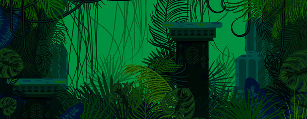 Exotic woods green wild nature background. Dense palm leaves, tree branches and mayan ruins vector.