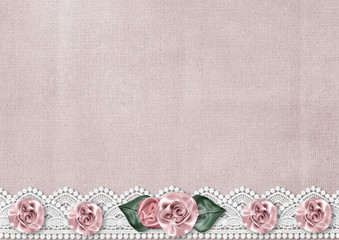 Delicate vintage background with a border of silk roses