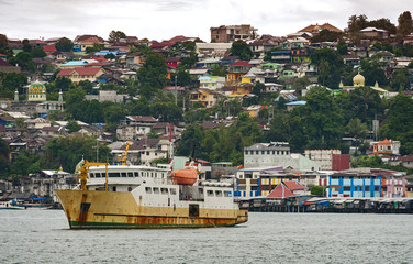 Ambon City, Ambon Island, Indonesia. Ambon is the main city and seaport of Ambon Island, and is the capital of Maluku province of Indonesia. Ambon is the largest city in the Maluku islands.