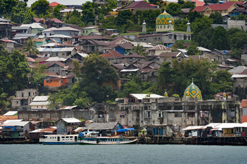 Foto op Canvas Indonesië Ambon City, Ambon Island, Indonesia. Ambon is the main city and seaport of Ambon Island, and is the capital of Maluku province of Indonesia. Ambon is the largest city in the Maluku islands.