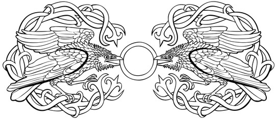 Vector illustration of celtic ravens cloak clasp black and white
