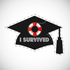 black graduation cap for photo booth,i survived   sentence and lifesaver icon