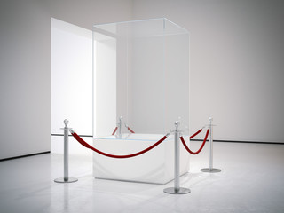 Clean empty showcase in modern gallery interior. 3d renedering