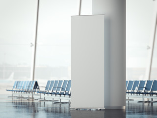 White rollup banner in airport terminal. 3d rendering