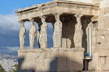 The Porch of the Caryatids in The Erechtheion an ancient Greek temple on the north side of the Acropolis of Athens, Attica, Greece
