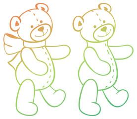 Contour image of teddy bears. Raster clip art.