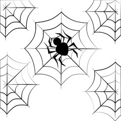 monochrome background halloween with spider vector illustration
