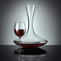 Decanting of red wine. 3d rendering