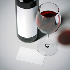 Business card with red wine bottle and glass. 3d rendering