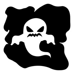 monochrome background halloween with ghost vector illustration