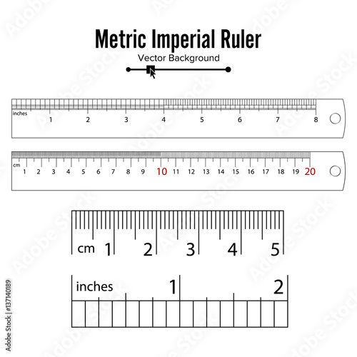 metric imperial rulers vector centimeter and inch measure tools equipment illustration. Black Bedroom Furniture Sets. Home Design Ideas
