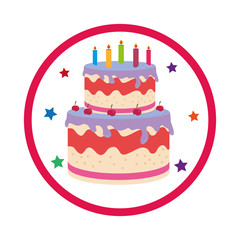 color background with birthday cake vector illustration