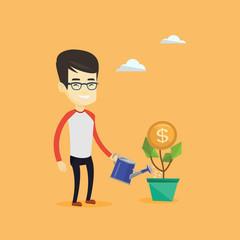 Business man watering money flower.