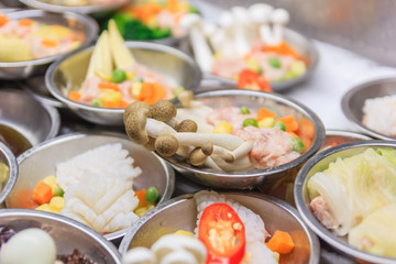 Various kinds of dim sum including dumplings, traditional chinese food. a kind of local breakfast of Chinese-Thai people who live in Southern part of Thailand