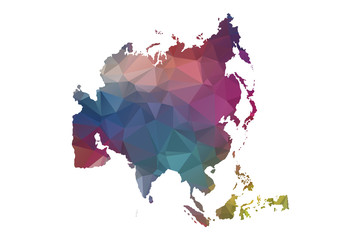 low poly asia map