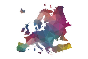 low poly europe map
