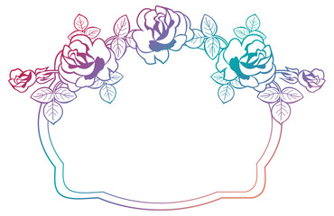 Gradient frame with roses. Raster clip art.