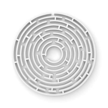 3D white round maze consruction isolated on white background